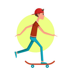 casual boy riding on skateboard banner vector image