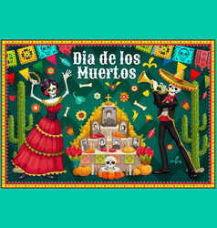 catrina and skeleton near day dead altar vector image