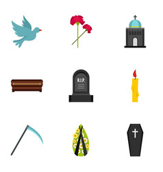 Cemetery icons set flat style vector
