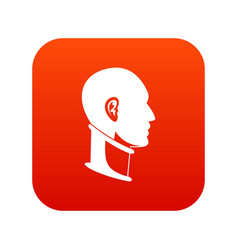 Cervical collar icon digital red vector
