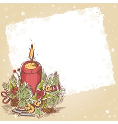 Christmas hand drawn postcard with burning candle vector image