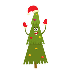 christmas tree character in cartoon style vector image
