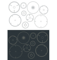 circular blade saw drawings set vector image