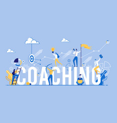 Coaching banner business people teamwork training vector