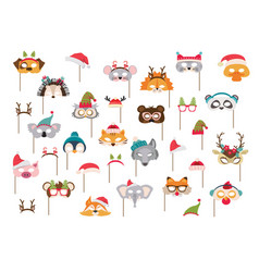 collection winter animal masks and christmas vector image