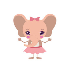 Colorful caricature of cute expression female pink vector