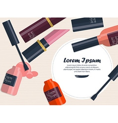 Composition with nail polish and lipstick on a vector image