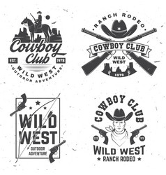 cowboy club badge ranch rodeo concept vector image