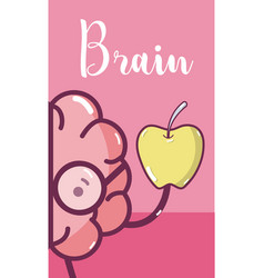 cute brain cartoon card vector image