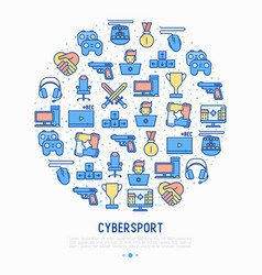 cybersport concept in circle with thin line icons vector image