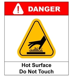 do not touch hot surface danger signs vector image