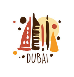 Dubai tourism logo template hand drawn vector
