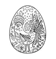 easter ornate hen in egg shape vector image