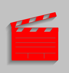 Film clap board cinema sign red icon with vector