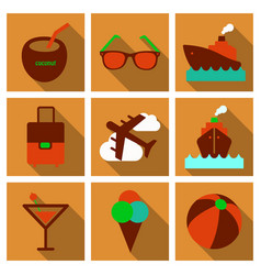 Flat icons set with long shadow effect of vector