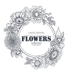 Floral backgrounds with hand drawn flowers vector