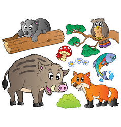 forest cartoon animals set 1 vector image