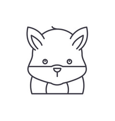 funny hamster line icon concept funny hamster vector image
