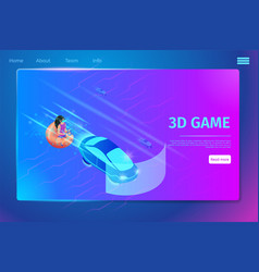 girl play video game driving car using vr glasses vector image