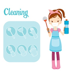 Girl With Toilet Cleaning Equipment And Icons Set vector image