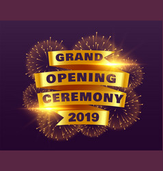 Grand opening ceremony banner with golden ribbon vector