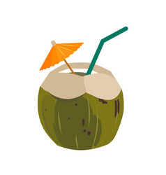 Green coconut water drink with drinking straw and vector