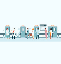 group doctors and nurses in hospital corridor vector image
