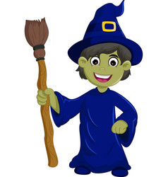 Halloween ugly witch with a hat and broom vector