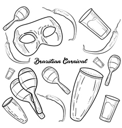 Hand drawn Brazilian Carnival element vector