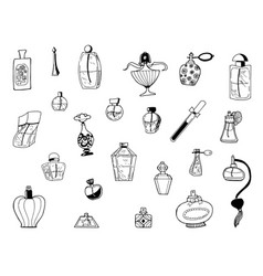 hand drawn sketch of parfume bottles vector image