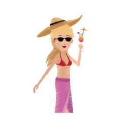 Happy young woman cartoon icon image vector