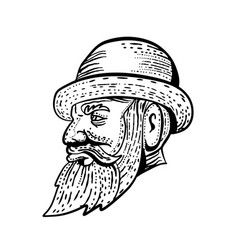 hipster wearing bowler hat etching black and white vector image