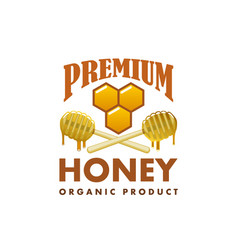 honey product icon honeycomb dipper spoon vector image