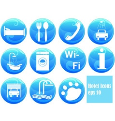hotel icons on buttons vector image