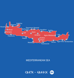 Island of crete in greece red map vector