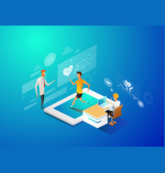 isometric smart health and medical 3d design vector image