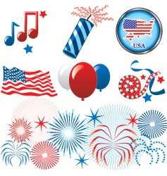 July 4th icons vector image