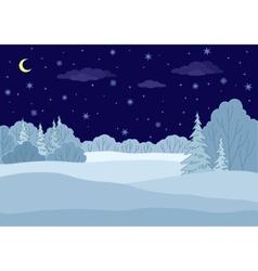 Landscape winter forest night vector