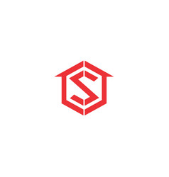 letter s logo with home icon vector image