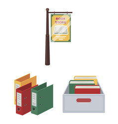 Library and bookstore cartoon icons in set vector