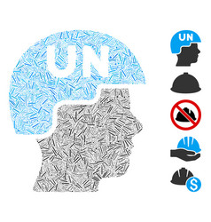 Line collage united nations soldier helmet icon vector