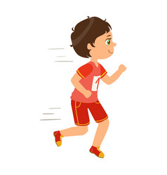 Little boy running boy in motion a colorful vector