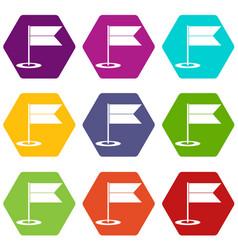 Locator flag icon set color hexahedron vector
