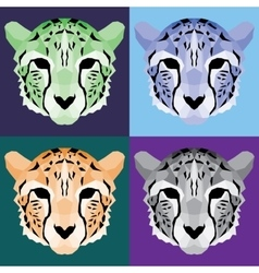Low poly cheetah set vector image
