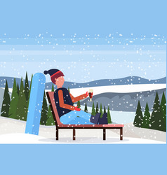 man relaxing on lounge chair after snowboarding at vector image