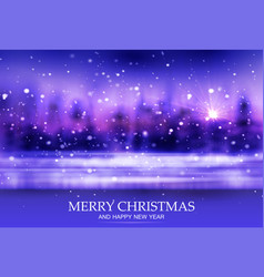 merry christmas winter bokeh background evening vector image