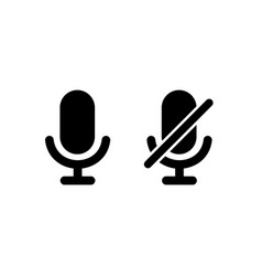 Microphone icon with turn off microphone for vector