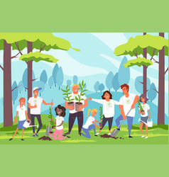 Nature family environmental protection vector
