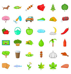Nature sport icons set cartoon style vector