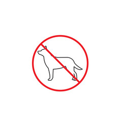 No dog line icon red prohibited sign vector